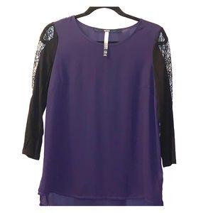 Kensie purple top with lace detail on sleeves